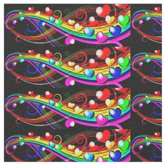 虹のハート ファブリック