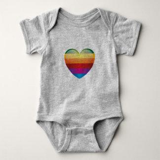 虹のハート ベビーボディスーツ