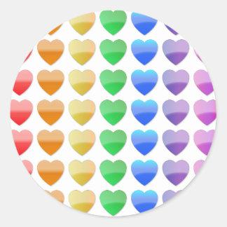 虹のハート ラウンドシール
