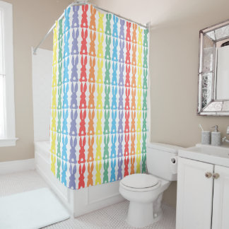 虹のバニーウサギのシルエットのかわいい子供 シャワーカーテン
