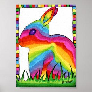 虹のバニーウサギの小型民芸 ポスター