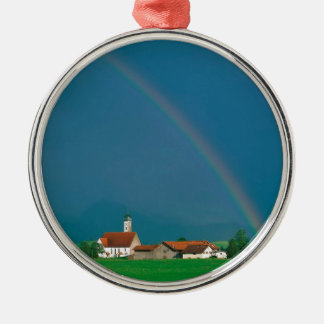 虹のババリアドイツ シルバーカラー丸型オーナメント