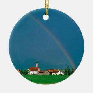 虹のババリアドイツ 陶器製丸型オーナメント