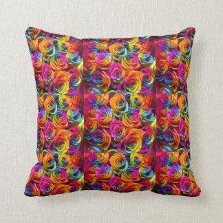 虹のバラの枕 クッション