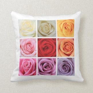 虹のバラの正方形のコラージュ クッション