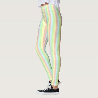 虹のパステルの細い縦縞 レギンス