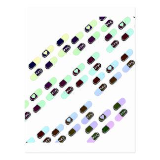 虹のパステル調の丸薬パターン ポストカード
