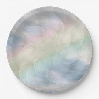 虹のパステル調の花の曼荼羅のデザイン ペーパープレート