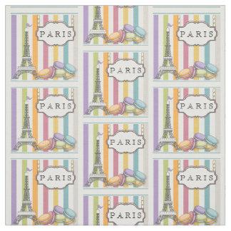 虹のパリのマカロンのエッフェル塔 ファブリック
