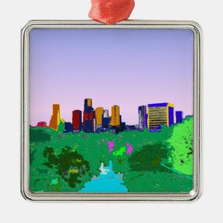 虹のヒューストンスカイラインのゲイプライドの空白のなカスタム メタルオーナメント