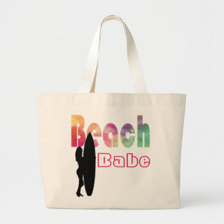 虹のビーチの可愛い人の波の女の子のテンプレート ラージトートバッグ