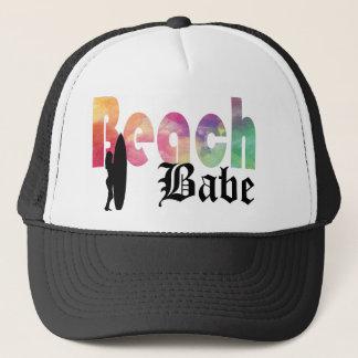 虹のビーチの可愛い人の波の女の子 キャップ