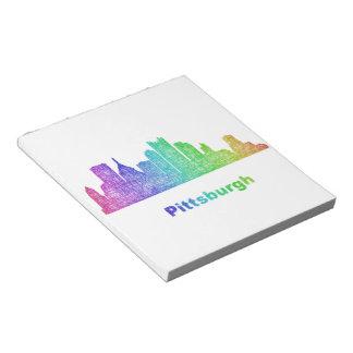 虹のピッツバーグのスカイライン ノートパッド