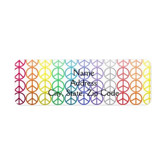 虹のピースサインの住所シール 返信用宛名ラベル