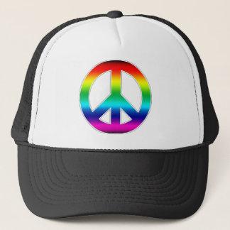 虹のピースサインの帽子 キャップ
