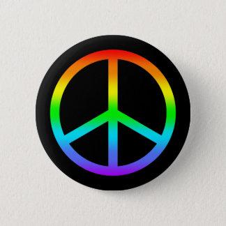 虹のピースサインボタン 5.7CM 丸型バッジ