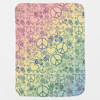 虹のピースマークのデザインパターン ベビー ブランケット