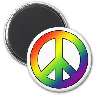 虹のピースマークの磁石 マグネット