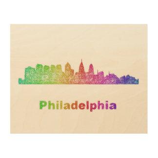 虹のフィラデルヒィアのスカイライン ウッドウォールアート