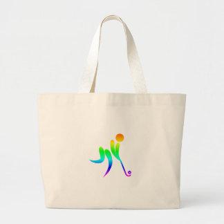 虹のフィールドホッケー ラージトートバッグ