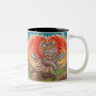 虹のフェニックスメインのあらいぐま猫のマグ ツートーンマグカップ