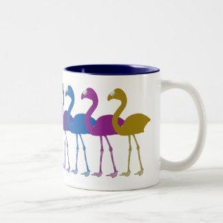 虹のフラミンゴのレトロのヴィンテージのコーヒー・マグ ツートーンマグカップ