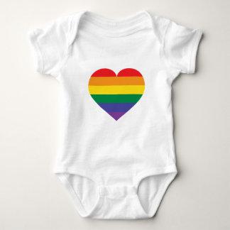 虹のプライドのハート ベビーボディスーツ