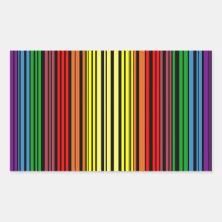 虹のプライドのバーコード 長方形シール