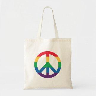 虹のプライドのピースサインのトートバック トートバッグ