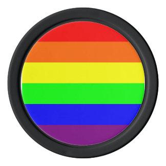 虹のプライドのポーカー用のチップ、黒、青い赤 ポーカーチップ