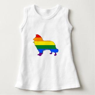 虹のボーダーコリー ドレス