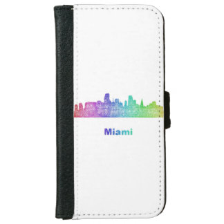 虹のマイアミのスカイライン iPhone 6/6S ウォレットケース