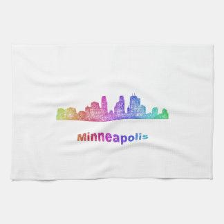 虹のミネアポリスのスカイライン キッチンタオル