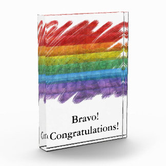 虹のモザイクゲイプライドの旗(ペイントブラシ) 表彰盾