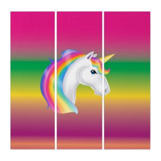 虹のユニコーンのパネルの壁の芸術 トリプティカ