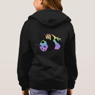 虹のユニコーンのパンダの魔法の輝きの抱擁 パーカ