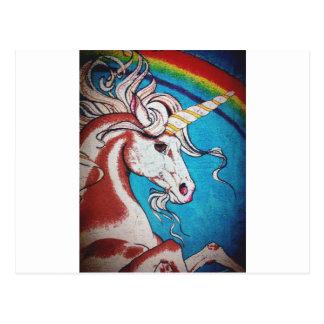 虹のユニコーンの落書き ポストカード