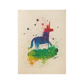 虹のユニコーンの輝き ウッドポスター