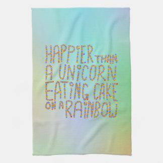 虹のユニコーンの食べ物のケーキより幸せ キッチンタオル