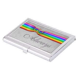 虹のリボンによって編まれる金ゴールドハートバス。 カードケース 名刺入れ