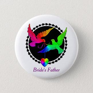 虹のレズビアンの花嫁の父の全体 5.7CM 丸型バッジ