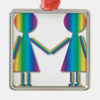 虹のレズビアン愛 メタルオーナメント
