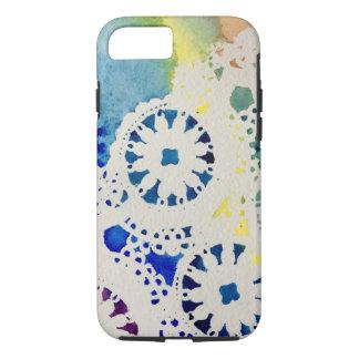 虹のレースまたは絞り染めの水彩画のiPhoneの例 iPhone 8/7ケース
