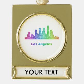 虹のロサンゼルスのスカイライン ゴールドプレートバナーオーナメント