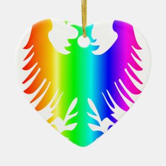 虹のワシ 陶器製ハート型オーナメント