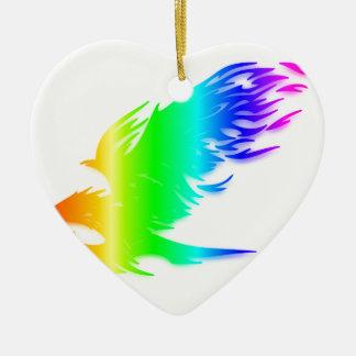 虹のワシ#2 陶器製ハート型オーナメント
