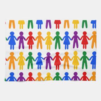 虹の人々パターン キッチンタオル
