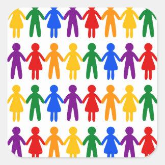 虹の人々パターン スクエアシール
