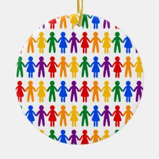 虹の人々パターン セラミックオーナメント