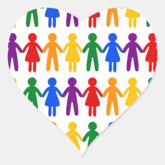 虹の人々パターン ハートシール